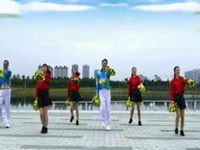夫妻广场舞《好运送给你》原创花球舞 正背面口令分解动作教学演示