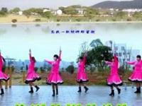 同心广场舞《蓝色天梦》原创舞蹈 团队正背面演示