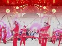 高安欣悦广场舞《红红的中国结》原创扇子舞 团队表演