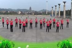 吉美广场舞《九九艳阳天》原创舞蹈 团队正背面演示