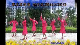 舞在深圳湾广场舞《红马鞍》编舞清舞 团队正背面演示