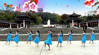 谢春燕广场舞《语花蝶》原创舞蹈 团队正背面演示