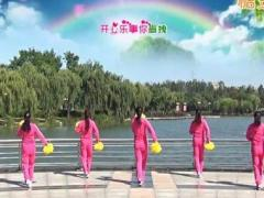 青儿广场舞《欢迎你到花海来》原创花球健身舞 附正背面口令分解教学演示
