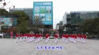 红舞鞋广场舞《月雨绵绵》原创舞蹈 团队正背面演示
